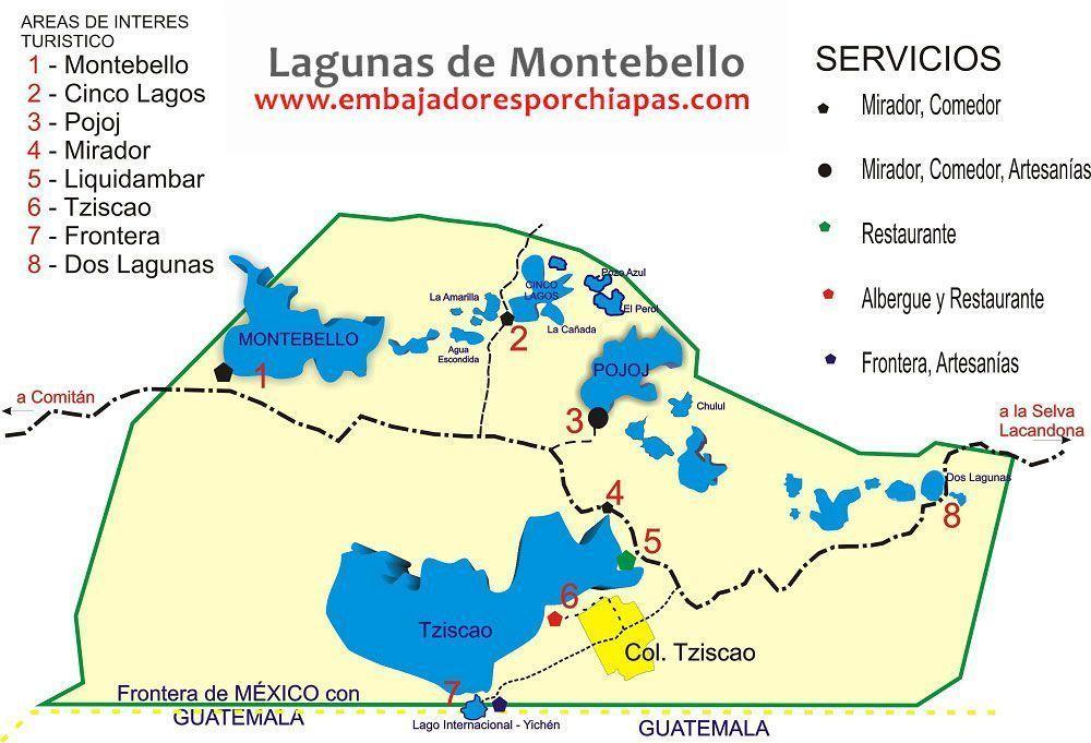Mapa Lagunas de Montebello
