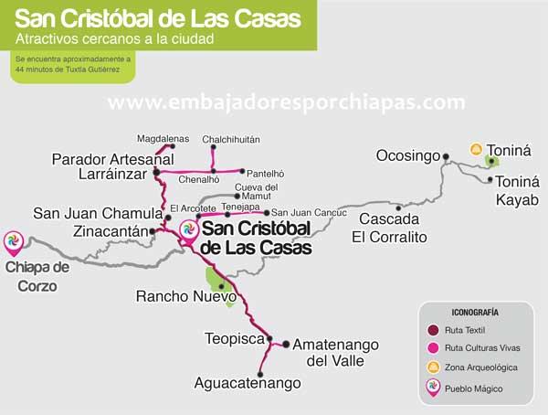 Mapa Turístico de San Cristóbal de Las Casas
